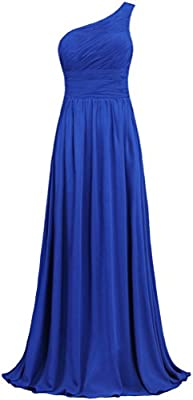 ANTS Women's Pleat Chiffon One Shoulder Bridesmaid Dresses Long Evening Gown