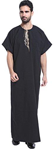Ababalaya Men's Short Sleeve Scoop Neck Embroidered Muslim Thobes Dishdasha Easter Wear, Black, XXL by Ababalaya