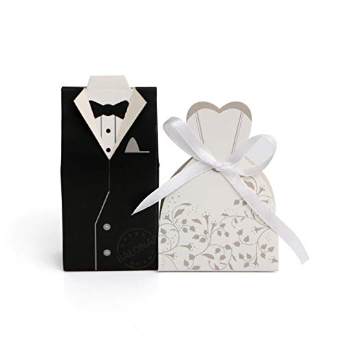 BALONAR 100pcs Wedding Party Gift Box Creative Favor Boxes Candy Bag with Silk Ribbon of Groom Bridal Tuxedo Wedding Dress for Party Supplies Wedding Anniversary Decorations