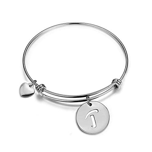 Zuo Bao Rose Gold Initial Disc Expandable Wire Bracelet Bangle with Heart Charm (T-s)