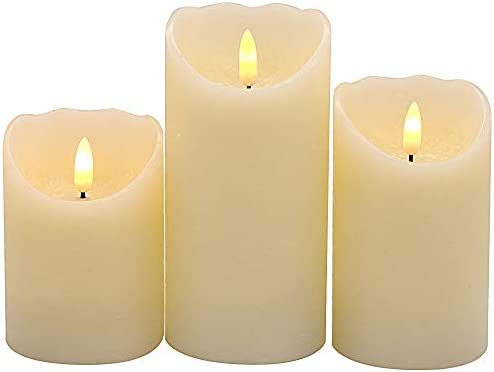 Wondise Ivory Flameless Flickering Candles Battery Operated with 6 Hour Timer, 3D Wick Real Wax Warm Light LED Flickering Candles Thanksgiving Christmas Decoration Set of 3, 3 x 4-6 Inches