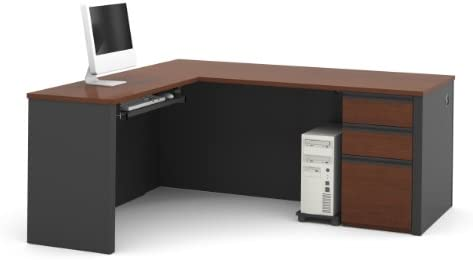 Bestar Prestige L-Shaped Workstation with Three Drawers, Bordeaux Graphite