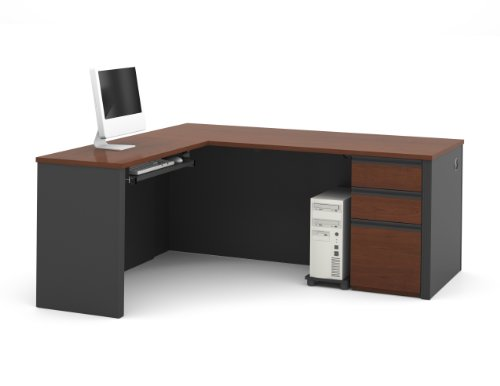 Bestar Prestige L-Shaped Workstation with Three Drawers, Bordeaux/Graphite