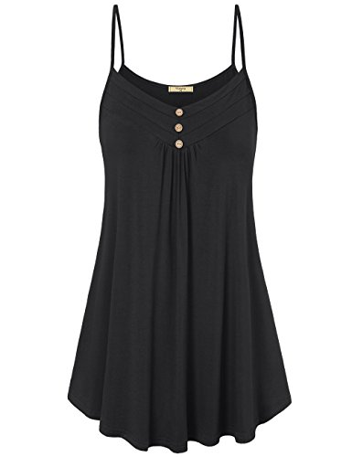 Viracy Cami Tank Tops for Women, Ladies Sleeveless V Neck Shirts Casual Summer Flowy Pleated Spaghetti Strap Round Hem Beautiful Tunic for Leggings with Button Solid Color Black M ()
