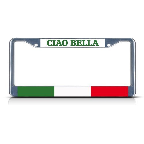 Teisyouhu Ciao Bella Italy Italian Chrome Metal License Plate Cover Auto Tag Sign by Teisyouhu