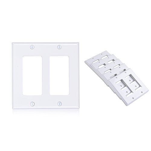 Cable Matters (5-Pack) Double-Gang Wall Plate Cover for Decorator Device in White