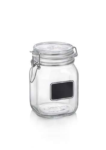 Bormioli Rocco Fido Square Clear Jar with Chalkboard,