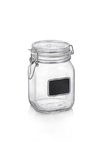 Bormioli Rocco Fido Square Clear Jar with Chalkboard,