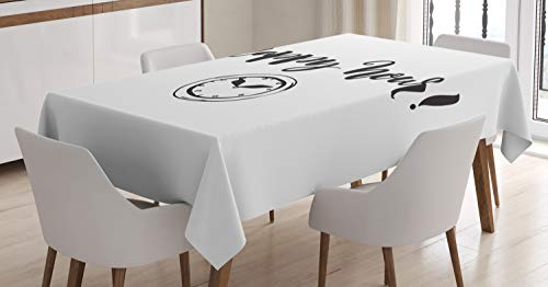 Lunarable Happy Hour Tablecloth, Cursive Calligraphy with Clock Monochromatic Illustration, Dining Room Kitchen Rectangular Table Cover, 60