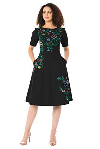 2851a167743 eShakti Women s Floral Wool Embellished Cotton poplin Dress L-12 Regular  Black Multi