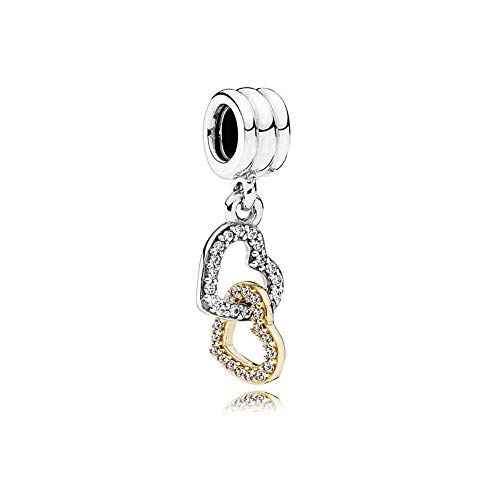 (Romántico Amor Heart Highlights Rose Love Dangle Charm 925 Sterling Silver Bead fit Pandora Charm Bracelets)