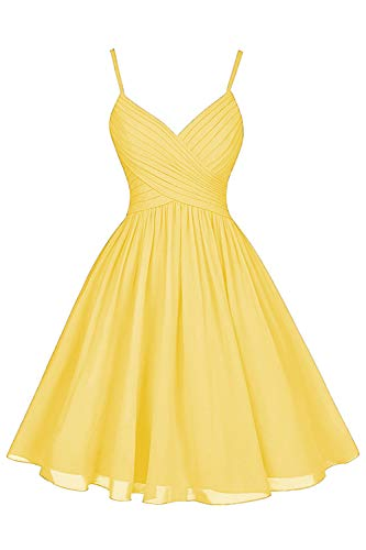V Neck Spaghetti Strap Wedding Party Dress Short A-Line Homecoming Cocktail Dress with Pockets for Juniors Yellow