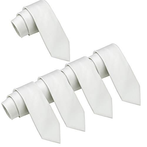Mens Wedding Tie Wholesale Groomsman Solid Color Skinny Ties 5 Pack (2 inch) (White) ()