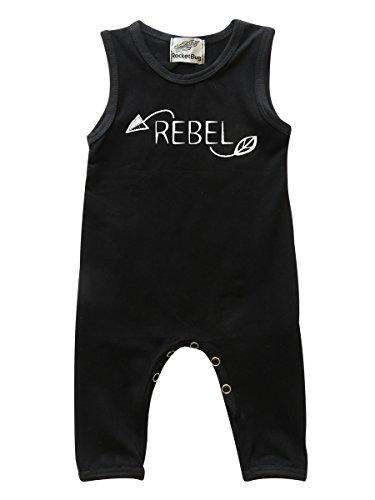 Rebel Girl Snap (Rocket Bug 'Rebel' Arrows Sleeveless Baby Romper For Boys and Girls (6-12 Months, Black))