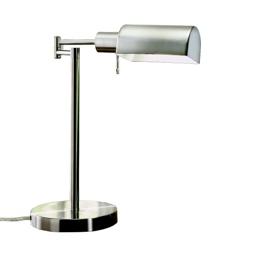 Sunter Lighting Natural Daylight Swing-Arm 23-Watt Desk Lamp, Brushed Steel Finish