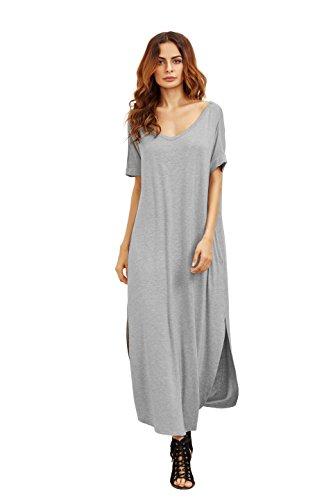 MakeMeChic Women's Casual Loose Pocket Long Dress Short Slee...
