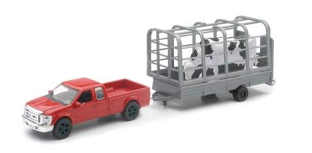 - New Ray Chevy Truck with Cattle Trailer Toy Die-cast Farm