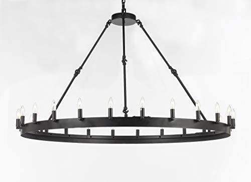 (Wrought Iron Vintage Barn Metal Castile One Tier Chandelier Chandeliers Industrial Loft Rustic Lighting W 50