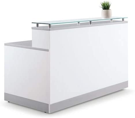 Esquire Glass Top Reception Desk 63″W x 32″D White Laminate/Silver Laminate Desktop Kickplate and Accents/Glass Top