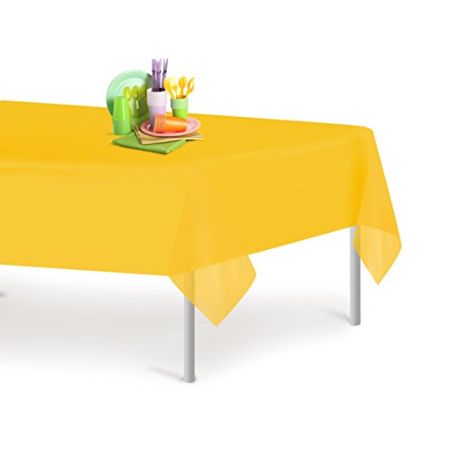 Yellow 1 Pack Premium Disposable Plastic Tablecloth 54 Inch. x 108 Inch. Rectangle Table Cover By Dluxware