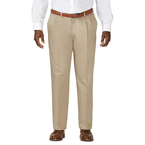 Haggar Men's Big-Tall Work to Weekend Hidden Expandable Waist Pleat Front Pant,Khaki,46x32