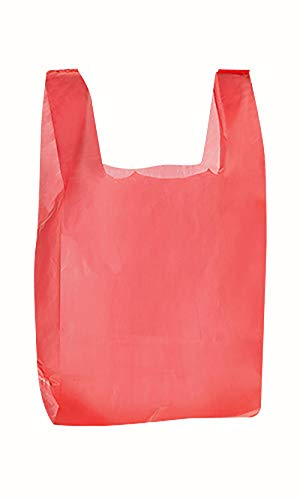 (Plastic T Shirt Bags - Red - 11 ½