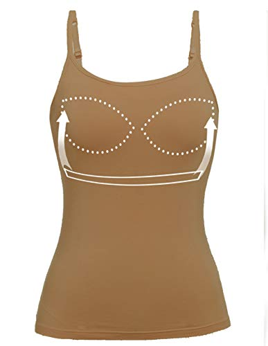 Camisole for Women Tank Tops with Built in Padded Bra Sleeveless Top Brown 2XL