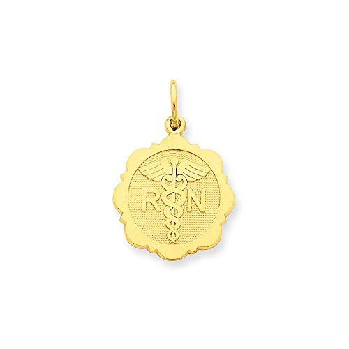 14k Yellow Gold Registered Nurse Disc (Textured Disc Necklace)