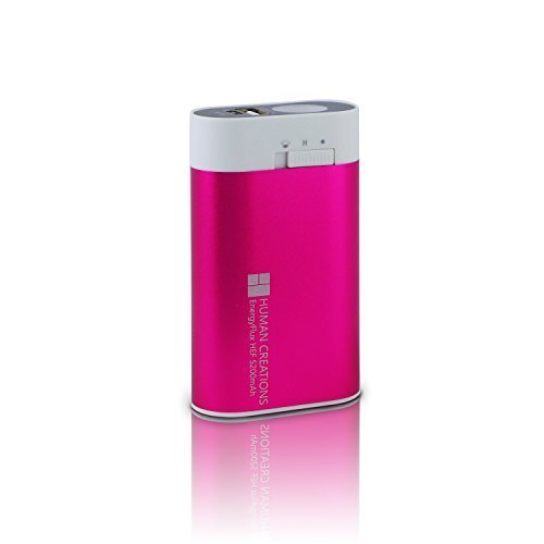 Human Creations EnergyFlux HEF Electric Reuseable Hand Warmer 5200mAh / USB Portable Charger Power Bank Battery Pack with 100lm LED Flashlight (Cherry Pink)