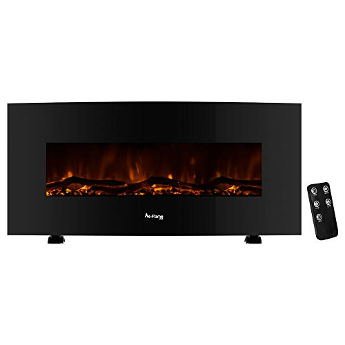 e-Flame USA Sundance Curved Wall Mounted or Freestanding Combo LED Electric Fireplace with Remote - 3D Log and Fire Effect (Black) 48-inch e-Flame USA
