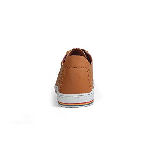 ZXCV Zapatos al aire libre Zapatos de los hombres ocasionales de encaje de moda zapatos transpirables zapatos hechos a mano Marrón claro