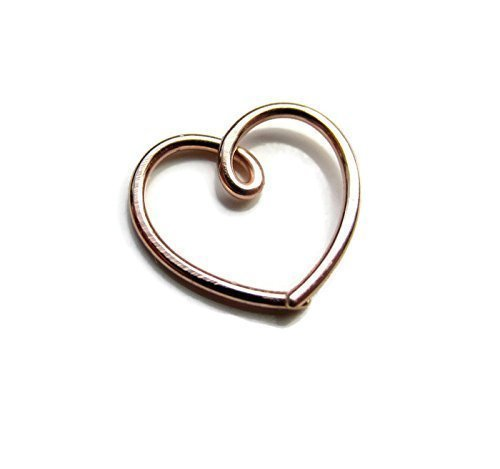 Artist Handmade Rose Gold filled Daith Heart Earring Small 20G Single 1 PC Designed by (Gold Small Heart Earrings)