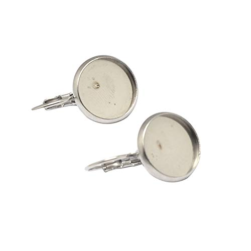 (PH PandaHall About 50 Pcs 304 Stainless Steel Lever Back Earring Hoop Open Loop Leverback Ear Wire, Flat Round Bezel Tray Blank Cabochon Setting for Earring Finding, Platinum, Tray: 12mm)