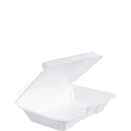 1 Compartment Foam Container - Dart 206HT1R All Purpose Shallow Perforated Foam Hinged Container, 9 X 6 in (Case of 200)