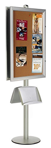 Displays2go Double Sided Bulletin Board with Brochure Pocket, Steel, Aluminum & Cork Construction – Silver Finish (BPCB36MTX2) by Displays2go