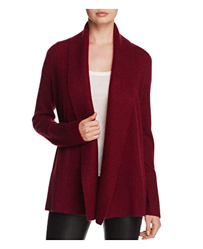 - C By Bloomingdale's Women's Cashmere Shawl Collar Open Cardigan Sweater $248 Size XS Burgundy