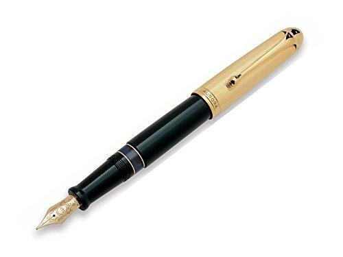 Resin Fountain Pen Gold Trim - Aurora 88 Fountain Pen, Black Resin, Gold trim, 801
