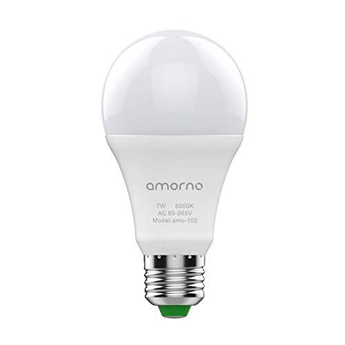 Dusk to Dawn Light Bulbs,AMORNO 7W E26/E27 Smart Sensor Light Bulb with Auto on/Off, Indoor/Outdoor LED Lighting Lamp for Porch, Hallway, Patio, Garage,Hallway(Cool White)