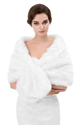 Insun Femmes Faux Fourrure Chale de Soire de Mariage Chale charpes Cape Manteau tole Blanc