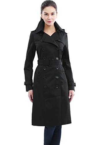 BGSD Women's Chloe Classic Hooded Waterproof Long Trench Coat - Black XS