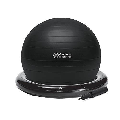 Gaiam Essentials Balance Ball & Base Kit, 65cm Yoga Ball Chair, Exercise Ball with Inflatable Ring Base for Home or…