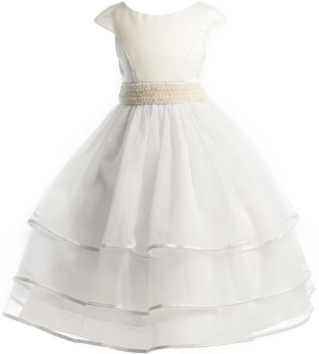 Beaded Waist Layered Organza Holiday Communion Flower Girl Long Dress - White 8 ()