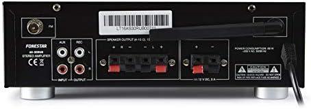 Fonestar AS-30RUB 2.0canales Hogar Alámbrico Negro - Amplificador de Audio (2.0 Canales, 15 W, 15 W, 30 W, Terminales de Abrazadera, 80 W)