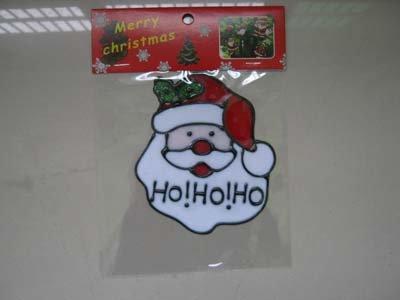 3 pack SANTA HEAD 110X125MM GEL CLING WINDOW STICKER CHRISTMAS DECORATION FD Costumes Ltd