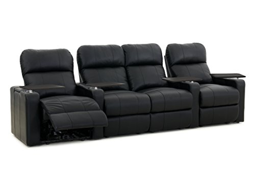 Turbo XL700 Home Theater Seats - Octane Seating - Black Bonded Leather - Manual Recline - Row 4 Theater Seats With Loveseat - Arm Storage - Memory Foam -  TURBO-R4SLM-BND-BL