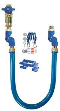 Dormont 16100KITCF24 1 Blue Hose Moveable Gas Connector Kit 24 Long with Blue Antimicrobial PVC 90/° Elbows /& Coiled Restraining Cable 1 Safety Quik QDV 2