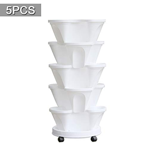 5 Tier Planter Stackable, FOME 5 Tier Strawberry Herb Garden Planter Stackable Gardening Pots Flower Tower Planter Garden Tower with Movable Pallet Caddy for Vegetable Strawberry Herbs