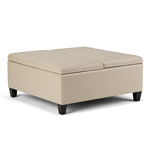 Simpli Home Ellis Coffee Table Storage Ottoman, Satin Cream