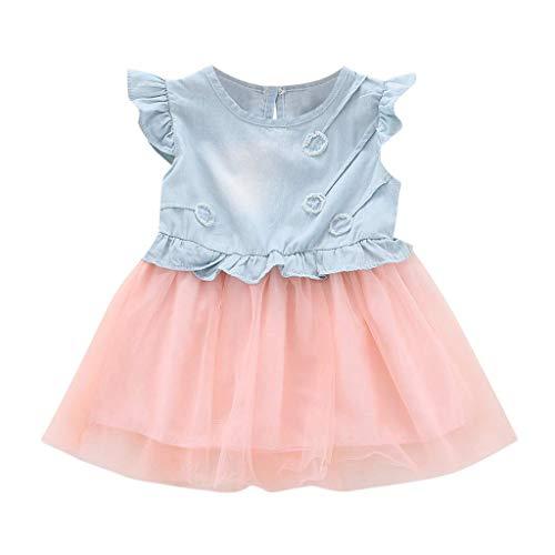 Sarahwu Fashion New Toddler Kids Girls Casual Denim Ruffle Sleeve Princess Mini Tutu Dresses,Baby Summer Cowboy Clothes Pink 2-3 T