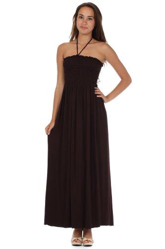 String Brown Long Dress Sakkas Bodice Feel Smocked Jersey Color Soft Solid Halter wqvz0xOqP
